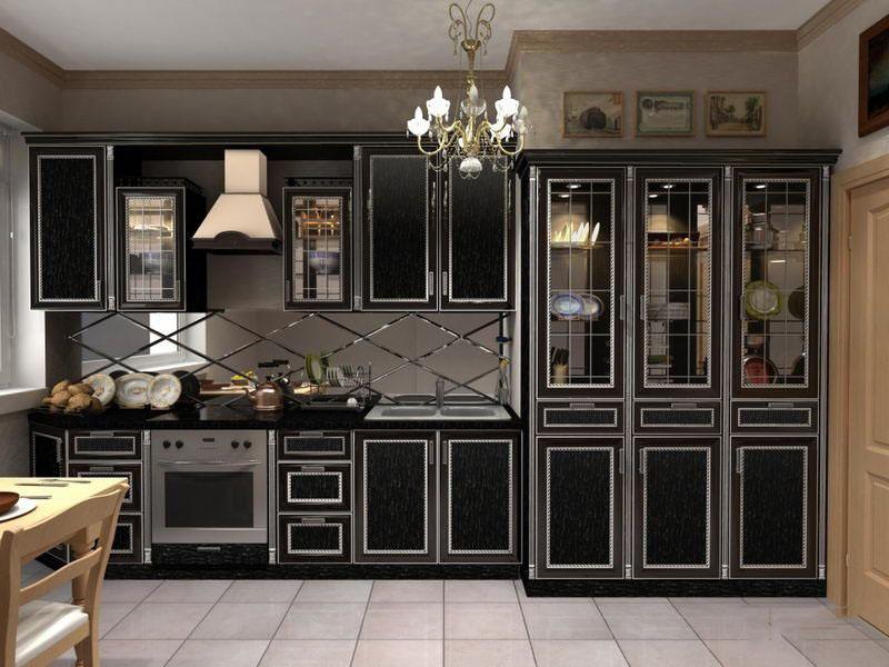 Дизайн кухни с черной мебелью фото