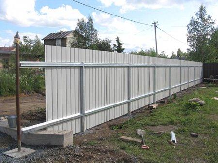 Забор на дачном участке из профлиста